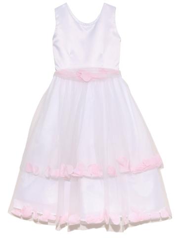 上身頃はシンプルな白のサテン地でアクセサリーをお付けいただくとより素敵に仕上がります。スカートは表面のチュール部分が袋状になり、ピンクの花びらが入っていてふんわりとやさしい印象のドレスです。結婚式のフラワーガールやリングガールにお勧め致します。