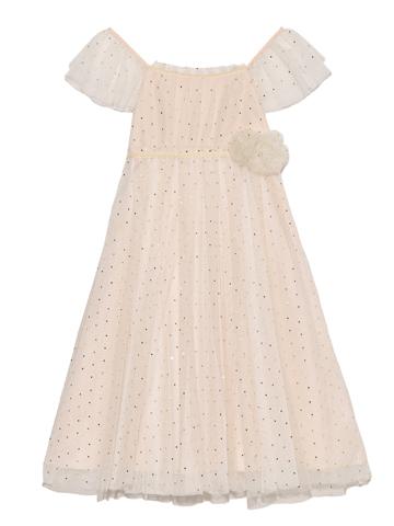 オフホワイトのチュール素材にゴールドのドットがあしらわれフレンチスリーブとハイウェストが可愛らしさを強調してるどれす華奢で可憐な妖精のようなドレス。上身頃のレース部分がより一層女の子らしさをアップさせるドレスです。