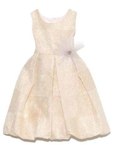 可愛らしいバルーンスカートとゴールドの華やかさがフォーマルなシーンにとても喜ばれる上品なドレスです。大人っぽくシンプルなデザインが上品なドレスです。