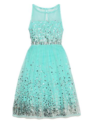 全身に散りばめられたスパンコールが弾けるようにキラキラ輝きとても華やか。総丈も長めではなくとても軽やかで爽やかなドレスです。