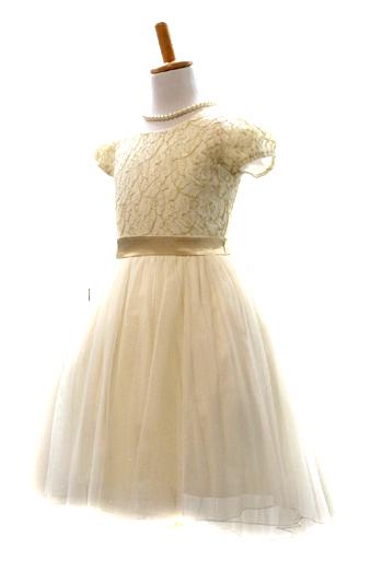 身頃のレース素材にシャンパンゴールドがとても上品で繊細。スカート部分はフィッシュテールで足長効果抜群のドレスです。