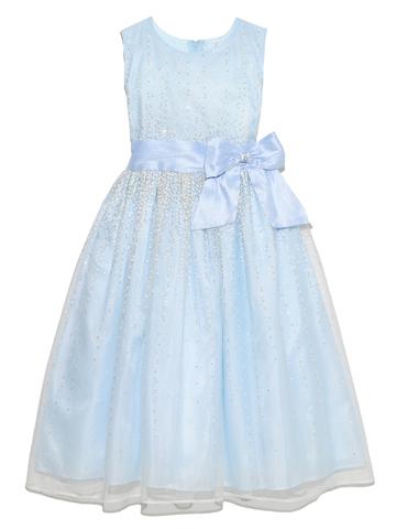 シルバーラメと明るい水色のドレスが透明感のある雰囲気を演出してくれます。幅広いシーンでご活用いただけます。