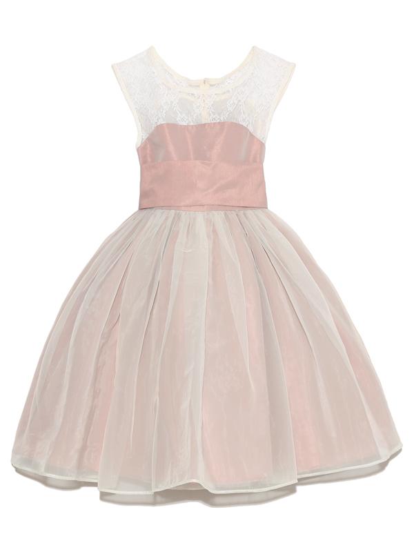 上身ごろのレースとスモーキーなピンクがシックなドレス。