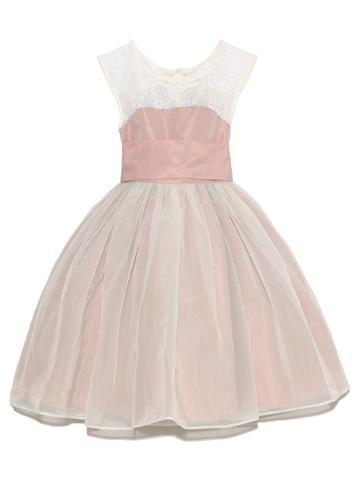 上身ごろのレースとスモーキーなピンクがシックなドレス。オフホワイトのチュールがふんわり優しい雰囲気になっております。