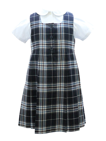 ファミリアのシンプルなチェックジャンパースカート。学校見学やお食事会にどうぞ。