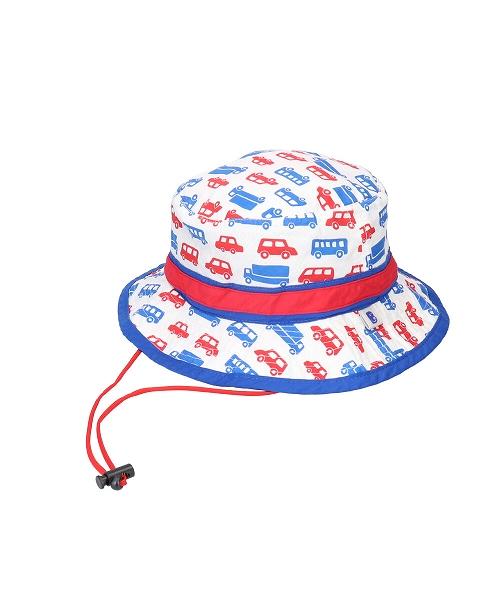 <たためる帽子>キッズ ポケット ハット くるまホワイト(販売品)