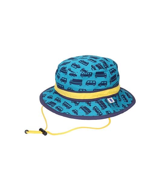 <たためる帽子>キッズ ポケット ハット くるまグリーン(販売品)